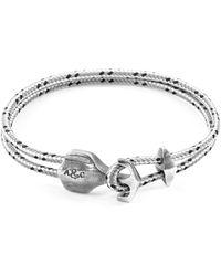 Anchor & Crew - Grey Dash Delta Anchor Silver & Rope Bracelet - Lyst