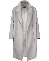 Paisie - Wool Blend Coat With Faux Fur Collar - Lyst