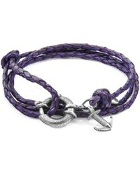 Anchor & Crew - Grape Purple Clyde Silver & Braided Leather Bracelet - Lyst