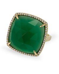 Anne Sisteron - 14kt Yellow Gold Green Agate Diamond Triplet Cushion Cut Cocktail Ring - Lyst