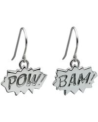 Edge Only - Pow And Bam Drop Earrings In Silver - Lyst