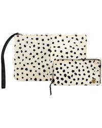 MAHI - Matching Clutch & Purse Gift Set In Polka Dot Pony Hair Leather - Lyst