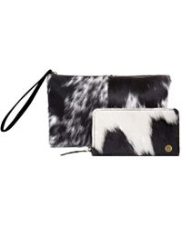 MAHI - Matching Clutch & Purse Gift Set In Black & White Pony Hair Leather - Lyst