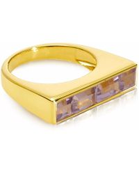 Neola - Equilibrium Gold Stacking Ring With Pink Amethyst - Lyst