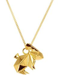 Origami Jewellery - Sterling Silver & Gold Mini Rabbit Origami Necklace - Lyst