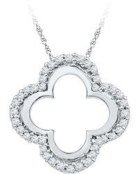 Cosanuova - Diamond Clover Cutout Pendant In 10k White Gold - Lyst