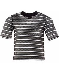 OKAYLA - Striped Mesh T-shirt - Lyst