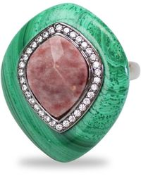 Bellus Domina - Adjustable Jasper & Malachite Cocktail Ring - Lyst