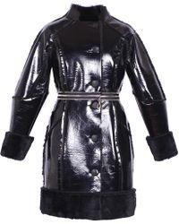 Ardent & Co - Metallic Black Faux Rabbit Fur Leather Coat - Lyst
