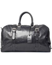 Maxwell Scott Bags - Luxury Italian Leather Medium Travel Bag Flerom Night Black - Lyst