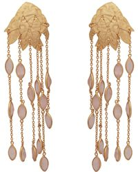 Carousel Jewels - Textured Gold Leaf & Rose Quartz Earrings - Lyst