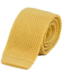 40 Colori - Yellow Solid Silk Knitted Tie - Lyst