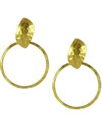 Ottoman Hands - Gold Oval Front Hoop Earrings - Lyst