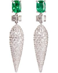 Ri Noor - Icicle Emerald & Diamond Dangler Earrings - Lyst