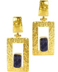 Ottoman Hands - Totem Lapis Rectangle Statement Earrings - Lyst