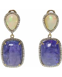 Ri Noor - Opal Tanzanite & Diamond Earrings - Lyst