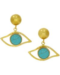 Ottoman Hands - Cazibe Turquoise Eye Earrings - Lyst