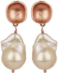 Carousel Jewels - Rose Gold Nugget & Pearl Earrings - Lyst