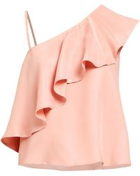 Paisie - Asymmetric Top With One Shoulder Frills In Dusty Pink - Lyst