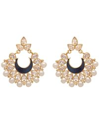 Carousel Jewels - Intricate Pearl Cluster & Blue Crystal Earrings - Lyst
