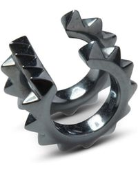 Kasun - Croc Double Ear Cuff Black Silver Oxidised - Lyst