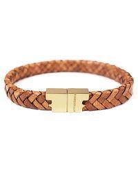 Tissuville - Rugged Brown Gold Leather Bracelet Serac Bracelet - Lyst