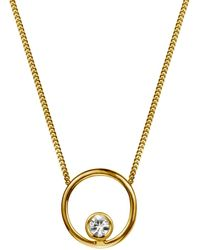 Lee Renee - Halo Necklace White Sapphire & Gold Vermeil - Lyst