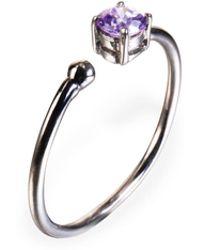 Ona Chan Jewelry - Little Jewels Open Ring Violet & Black - Lyst