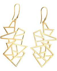 Ona Chan Jewelry Multi Lattice Drop Earrings Yellow Gold
