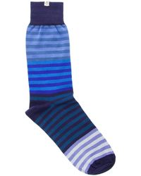 40 Colori - Blue Gradient Striped Organic Cotton Socks - Lyst