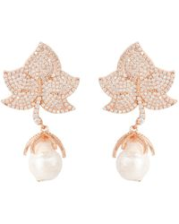 Latelita - Baroque Pearl Leaf Earring White Cz Rose Gold - Lyst