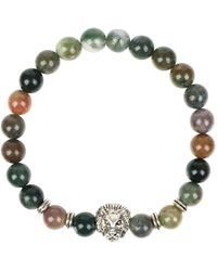 Latelita - Silver Lion Gemstone Stretch Bracelet Mixed Onyx - Lyst