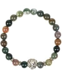 LÁTELITA London - Silver Lion Gemstone Stretch Bracelet Mixed Onyx - Lyst