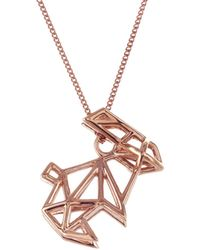 Origami Jewellery - Sterling Silver & Pink Gold Frame Rabbit Origami Necklace - Lyst