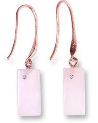 Ona Chan Jewelry - Rectangle Rose Quartz Earring With Swarovski - Lyst
