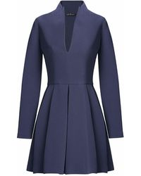 MYBESTFRIENDS - Iconic Blue Deep V Dress With Long Sleeves - Lyst
