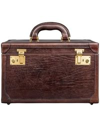 Maxwell Scott Bags - Luxury Italian Leather Women's Vanity Case Bellino Dark Chocolate Brown - Lyst