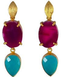 Magpie Rose - Purple Agate & Turquoise Onyx Cocktail Earrings - Lyst