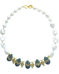 Farra - Teardrop Rhinestones With Lace Leaves Freshwater Pearls Necklace Statement Necklace - Lyst