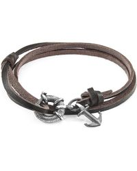 Anchor & Crew - Dark Brown Clyde Anchor Silver & Flat Leather Bracelet - Lyst
