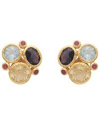 Carousel Jewels | Gold Gemstones Cluster Earrings | Lyst