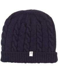 40 Colori - Navy Small Braided Wool & Cashmere Beanie - Lyst