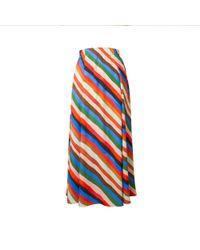 TOMCSANYI - Vac Stripes Print Multi Slits Midi Skirt - Lyst