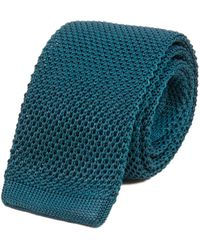 40 Colori - Petrol Blue Solid Silk Knitted Tie - Lyst