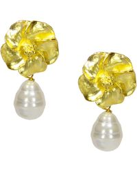 Ottoman Hands - Wild Rose And Pearl Gold Drop Earrings - Lyst
