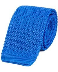 40 Colori - Turquoise Solid Silk Knitted Tie - Lyst