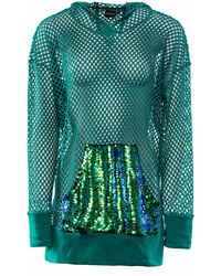 OKAYLA - Green Sequin Pocket Longline Mesh Hoodie - Lyst