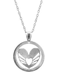 Anchor & Crew - Decorated Heart Disc Paradise Silver Necklace Pendant - Lyst