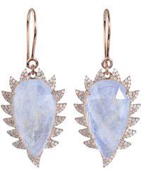 Meghna Jewels - Claw Drop Earrings Moonstone & Diamonds - Lyst