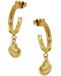 Ottoman Hands - Shell Charm Hoop Earrings - Lyst